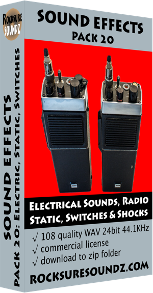 Pack 20 Electrical Sounds: Radio Static, Switches, Shocks, Electricity